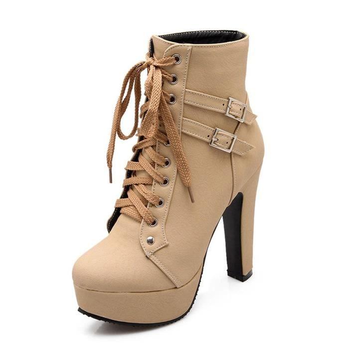 Minetom Femme Martin Boots Automne Hiver Bottines Cheville Bottes À Lacets Et Boucle Bout Rond Couleur Unie Talon Haut Lacet Bottes