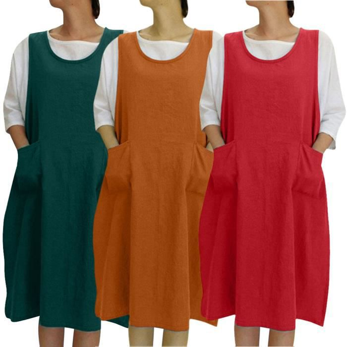 Les Femmes Tunique En Coton Robe Tablier Casual Avec Poches Style Japonais Robe Chasuble Orange Orange Achat Vente Robe Bientot Le Black Friday Cdiscount