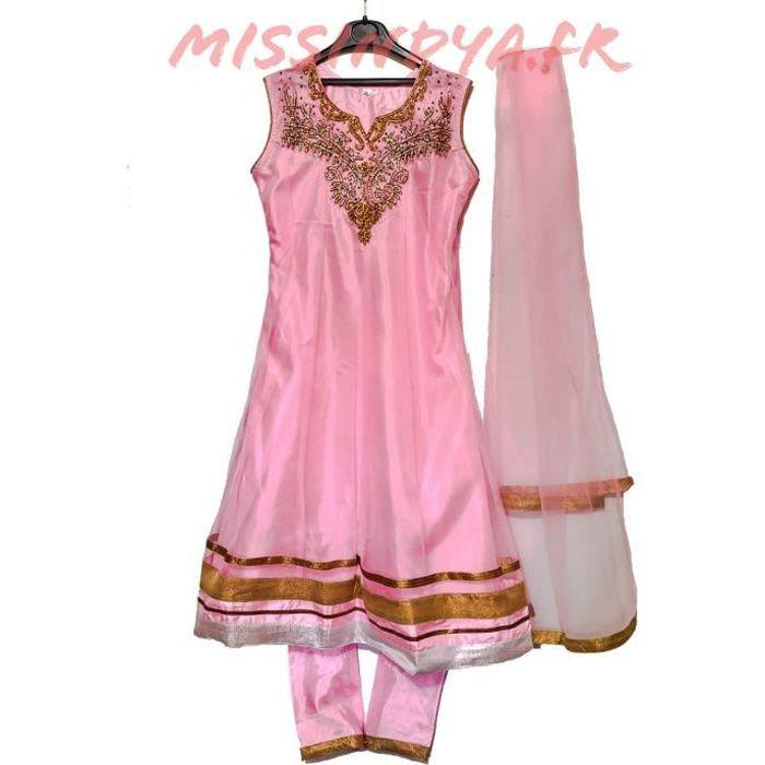 Robe Indienne Fille Enfant Rose Bollywood Sari Indien Salwar Kameez Churidar Rose Achat Vente Robe Cdiscount