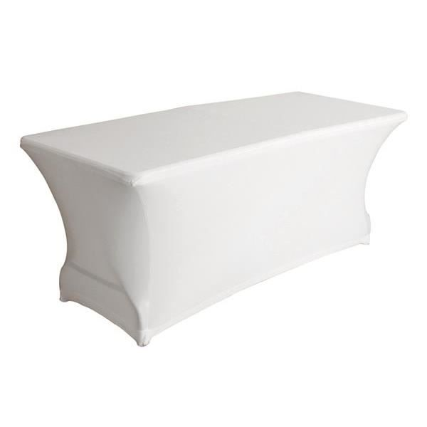 Housse extensible pour table rectangulaire blanc achat for Table rectangulaire extensible
