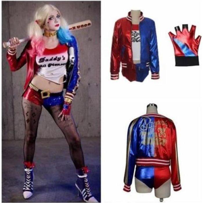 DÉGUISEMENT - PANOPLIE Cosplay T-shirt Veste Culotte Gant Harley Quinn Su