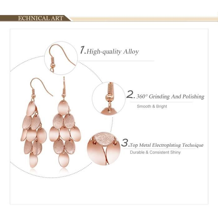Womens Brushed Satin Rose Gold Plated Dangle Earrings ForUV6W8