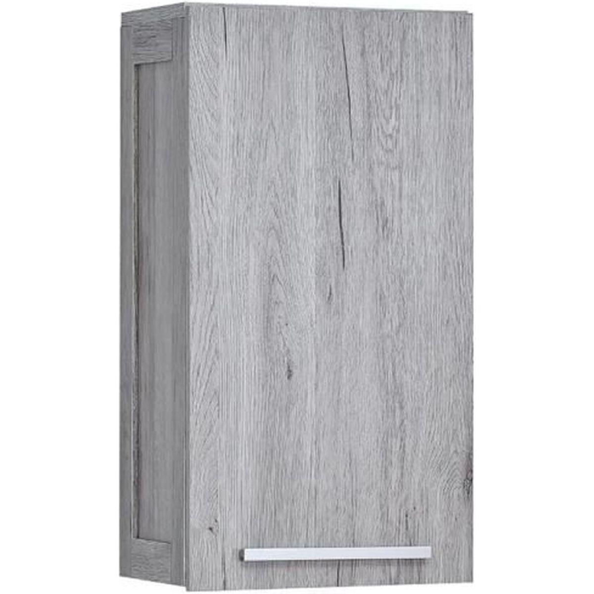 Meuble haut salle bain bois gris Parisienne