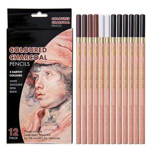 CRAYON DE COULEUR Coffret de 12 Crayons à Dessin Au Fusain 4 Couleur