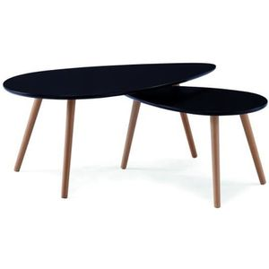 Stone table basse scandinave 88x48 cm laquee achat - Table basse noir ...