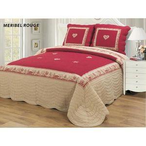 JETÉE DE LIT - BOUTIS Couvre lit boutis Meribel rouge 260x280 grande dim