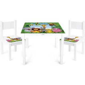 TABLE BÉBÉ Table et 2 chaises enfant motif ANIMAUX Chambre en