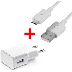 CHARGEUR TÉLÉPHONE Chargeur secteur-USB + Câble USB- Micro USB Blanc