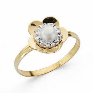 BAGUE - ANNEAU Bague zircons 9k perle en forme de fleur d'or [AA1