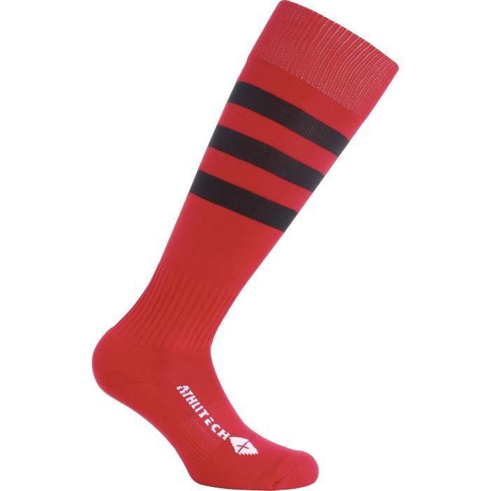 ATHLI-TECH Chaussettes de rugby PA - Rouge / Noir