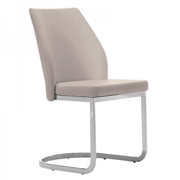 Chaise tapissée confort Épaisseur de l'assise: 6 cm, ube rectangulaire chromé de 1,5 cm x 3 cm, SABLE