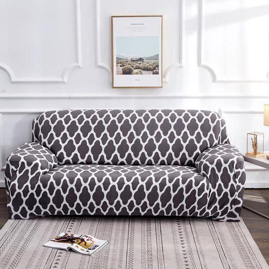 235-310cm Housse de canape 4 places avec accoudoirs, Housse de fauteuil et canape, extensible, Couverture de Canapé 4 places Gris