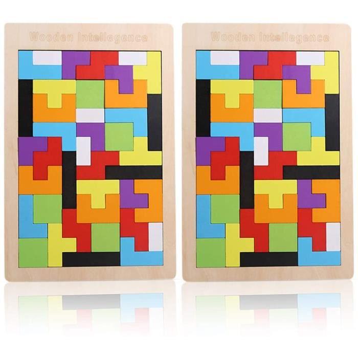 2 Pack Tetris Tangram Jigsaw Jouet Casse-tête Intelligence Montessori Toy Colorés Puzzle en Bois Jouets Éducatifs Cadeau d'anniversa