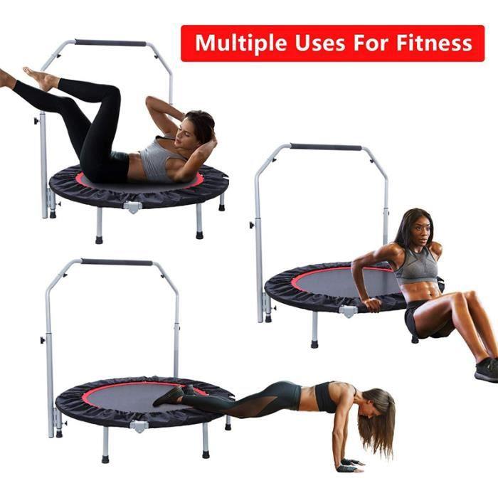WISS Trampoline de Fitness/Gymnastique avec la poignée Haute Performance Ø 110 cm élastiques Bungee Noir