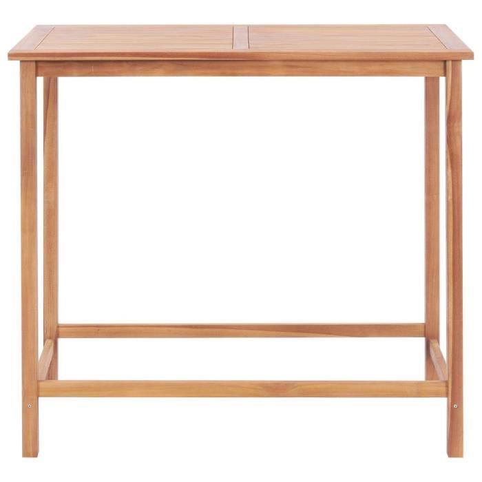 Table de bar d'extérieur 120x65x110 cm Teck solide-MEE