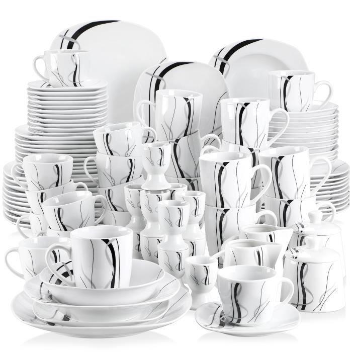 VEWEET, série Fiona, Service de Table, 100 pièces pour 12 Personnes, en Porcelaine