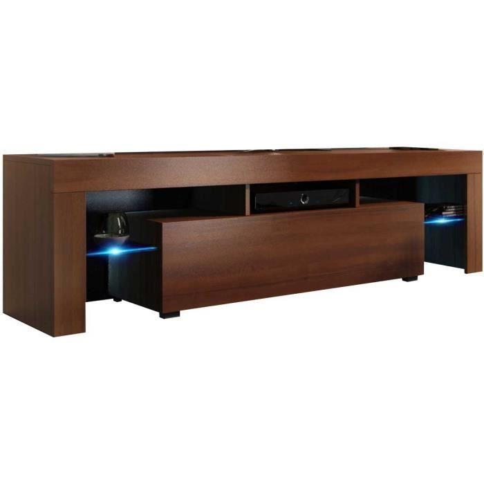 Meuble tv 160 cm aspect noyer + led rgb