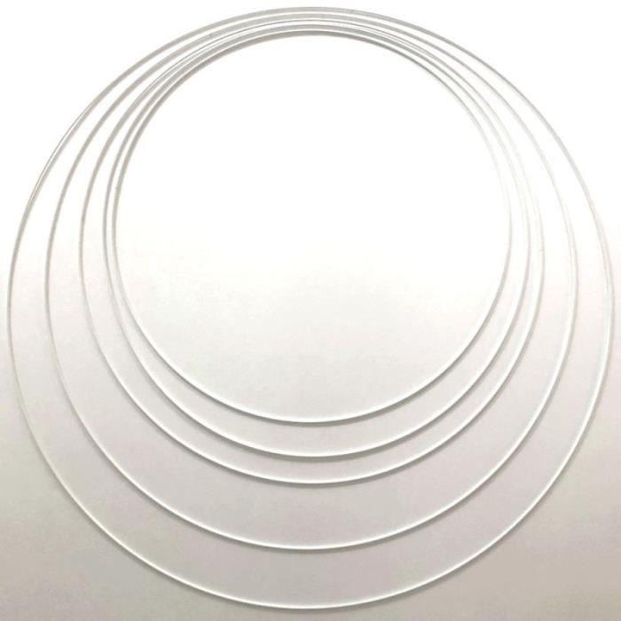 Lot 5 très grands Cercles métal blanc Ø 60 cm à 90 cm, Anneaux en Epoxy pour Attrape rêves, abat-jour - Unique