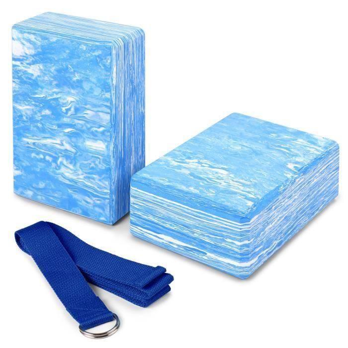 2pcs Yoga Bloquer moussant mousse brique exercice de remise en forme Stretching aide Gym + Bande élastique de fitness bleu