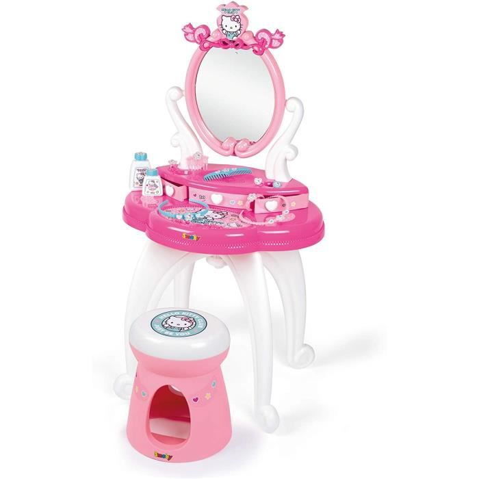 Smoby - Hello Kitty - Coiffeuse 2 en 1 - Tabouret + 10 Accessoires Inclus - Dès 3 Ans - 320239