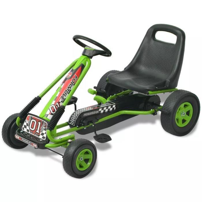 Karting Go-Kart à pédales d'extérieur Vélo et véhicule - Convient pour 3 à 8 ans avec siège ajustable Vert