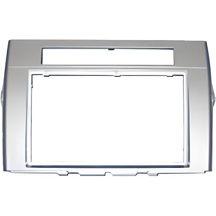 Adaptateur de façade d'autoradio Double DIN gris argent Toyota Corolla Verso 2005 >