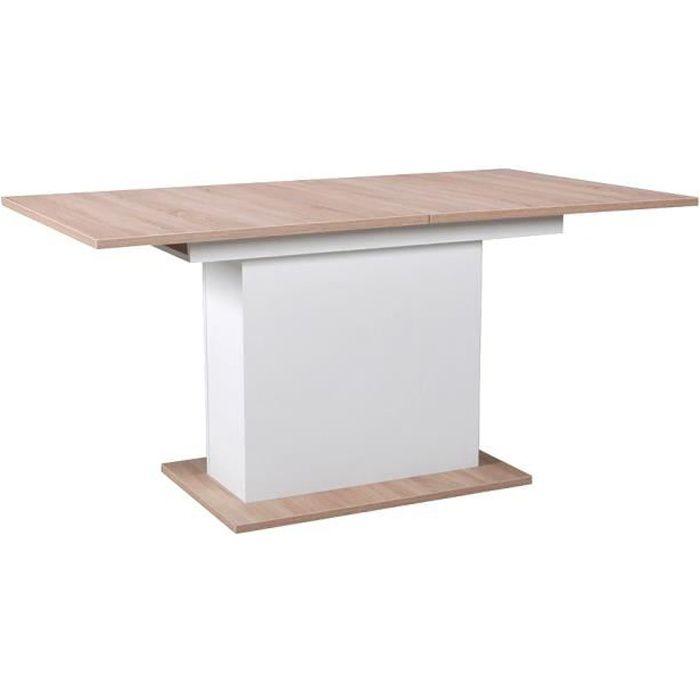 Table CARLA 1 rallonge / Chêne Blanchi & blanc