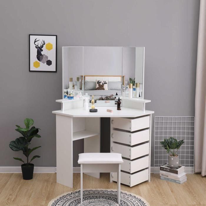 Coiffeuse Table de Maquillage avec 3 Miroirs et 5 Tiroirs à droite, Grande Coiffeuse d'angle, Moderne, Blanc, avec Tabouret-Mondeer