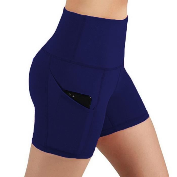 Lady Solid Pocket Taille haute Hip Stretch Slip Running Short de yoga de fitness @Cheneylans21 Marine