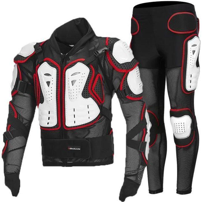 Combinaison de moto armure homme costume 2 pièces veste + pantalon ensemble de vêtement protection complète du corps