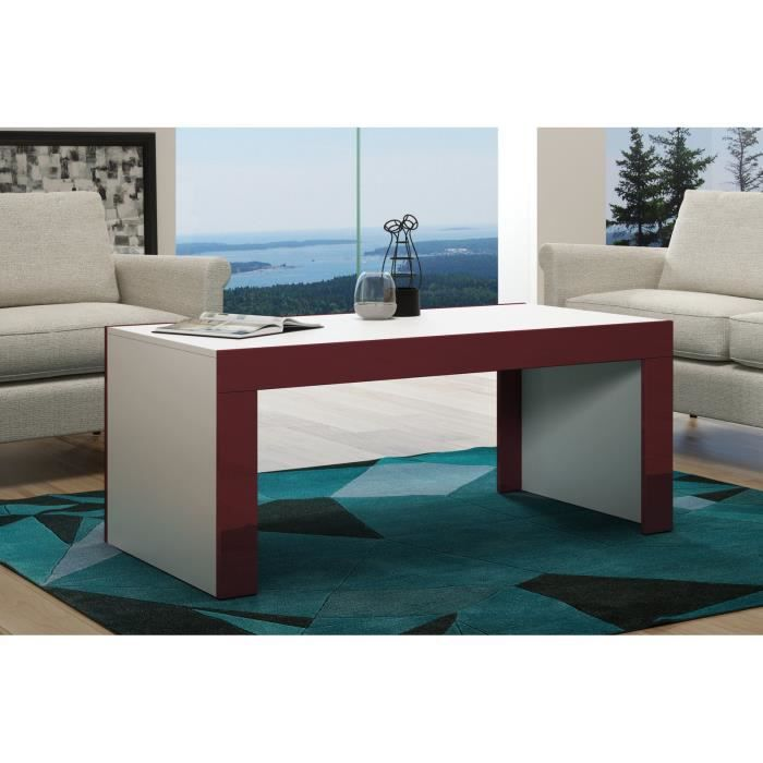 Table basse en MDF Blanche et bordure bordeaux laquée 120 cm