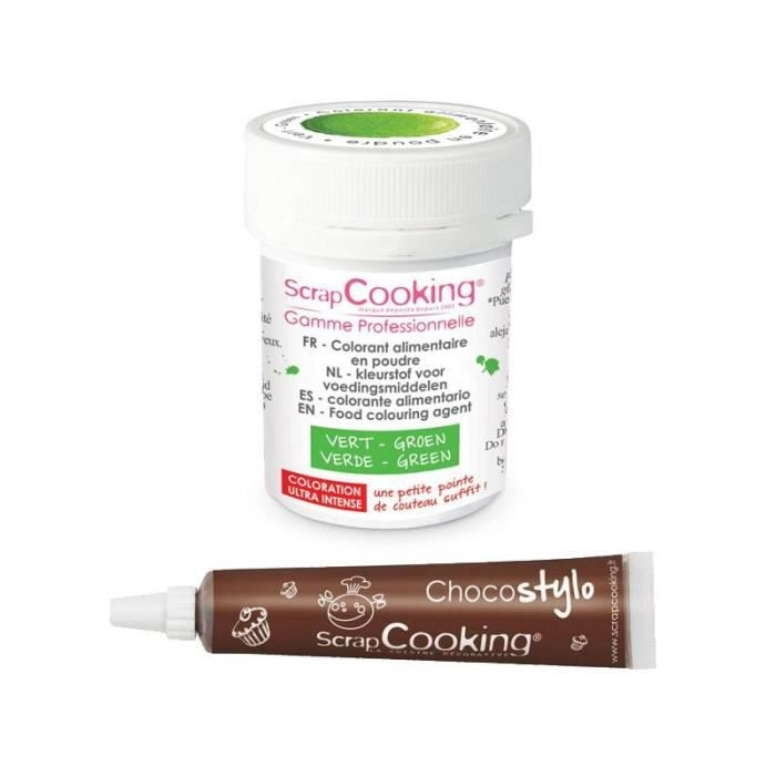 Stylo chocolat + Colorant alimentaire en poudre vert