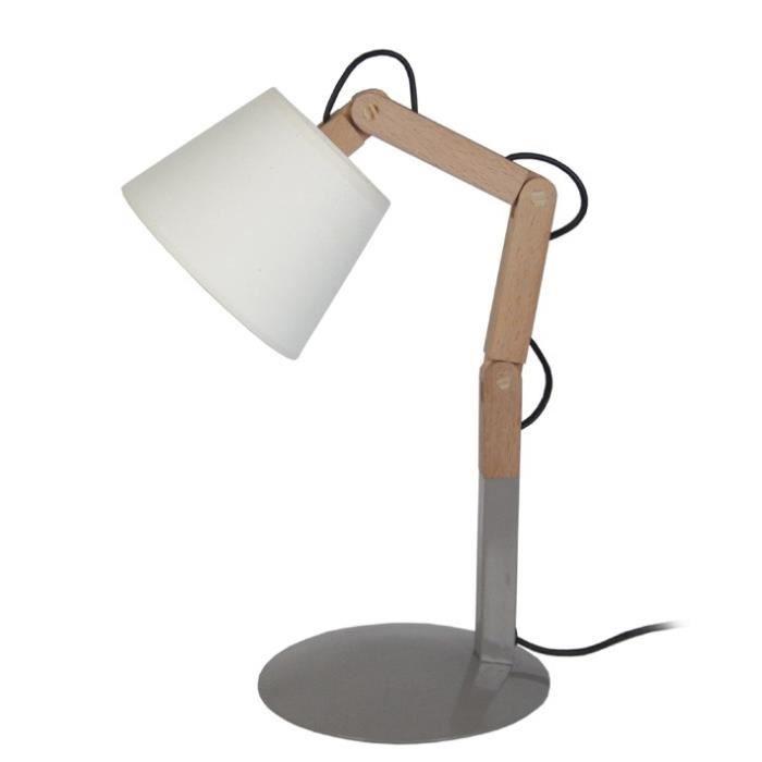 FREKI Lampe à poser en acier et Bois - Abat-jour Tambour Tissu - 18 x 30-45 x H30-45 cm - Bois Naturel, Taupe et Noir - E27