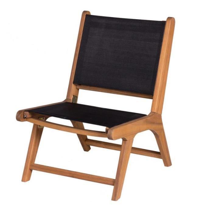 Chaise basse Bois d'acacia/Textilène Noir - OLUVELI - L 50 x l 64 x H 75