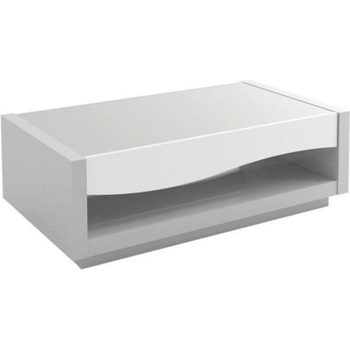 Table basse 1 tiroir laquée Blanc/Gris - RALF - L 115 x l 65 x H 40