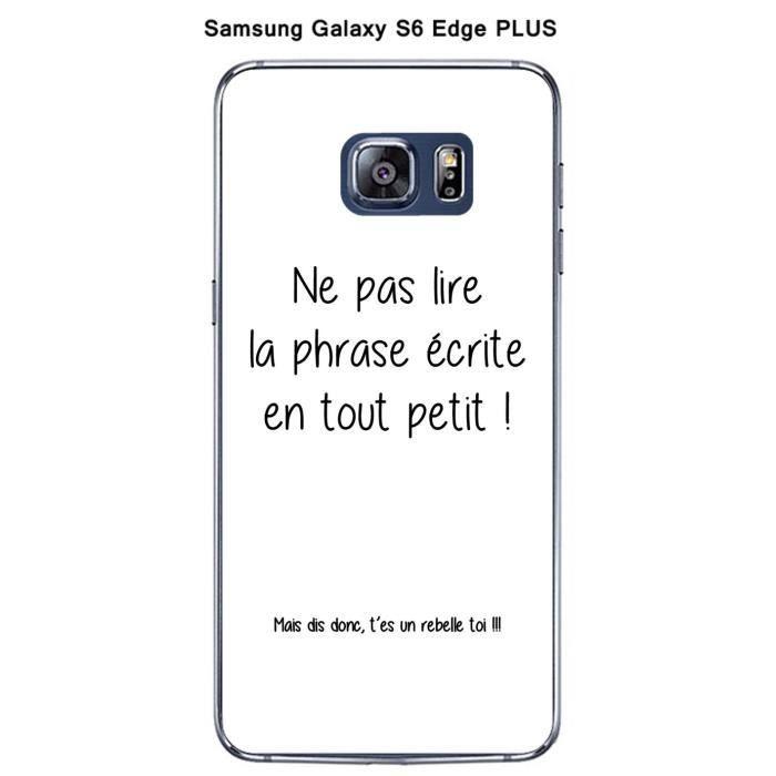 Coque Samsung Galaxy S6 Edge Plus Citation Noir fond blanc-3 ...