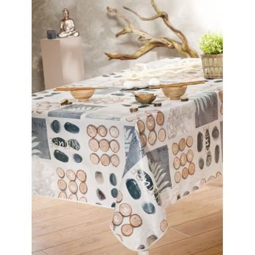 nappe en toile cir e ronde 180 cm ying yang achat. Black Bedroom Furniture Sets. Home Design Ideas