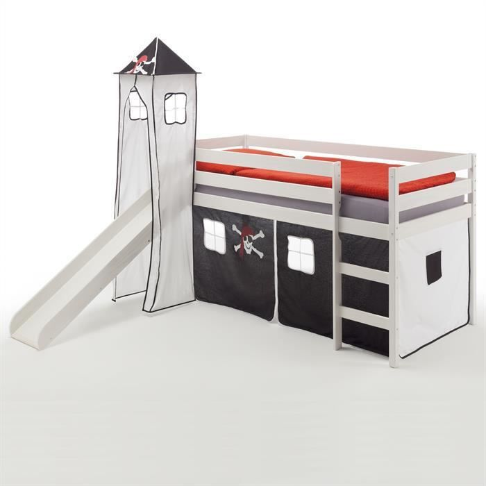 lit sur lev blanc toboggan tissus pirate achat. Black Bedroom Furniture Sets. Home Design Ideas