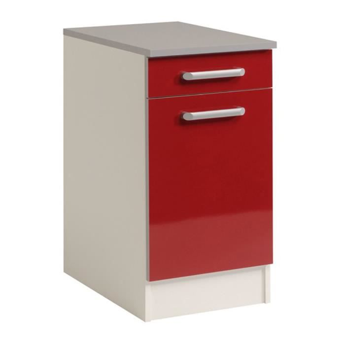 El ment bas de cuisine 40 cm rouge brillant h 86 x l 40 x for Element bas de cuisine