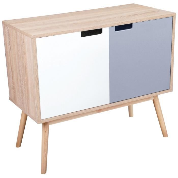 buffet double porte bicolore meuble scandinave coloris bois naturel 80 x 38 x 70cm achat. Black Bedroom Furniture Sets. Home Design Ideas