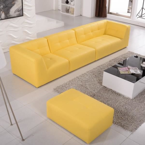 canap modulable cuir synth pogo pop art jaune achat vente canap sofa divan cuir pu. Black Bedroom Furniture Sets. Home Design Ideas