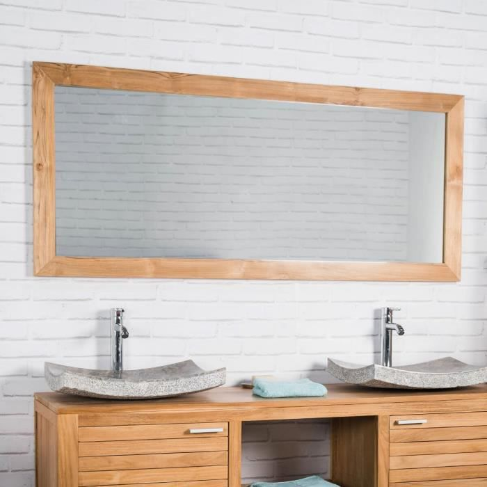 Grand miroir rectangle en teck massif 160 x 70 achat for Grand miroir long