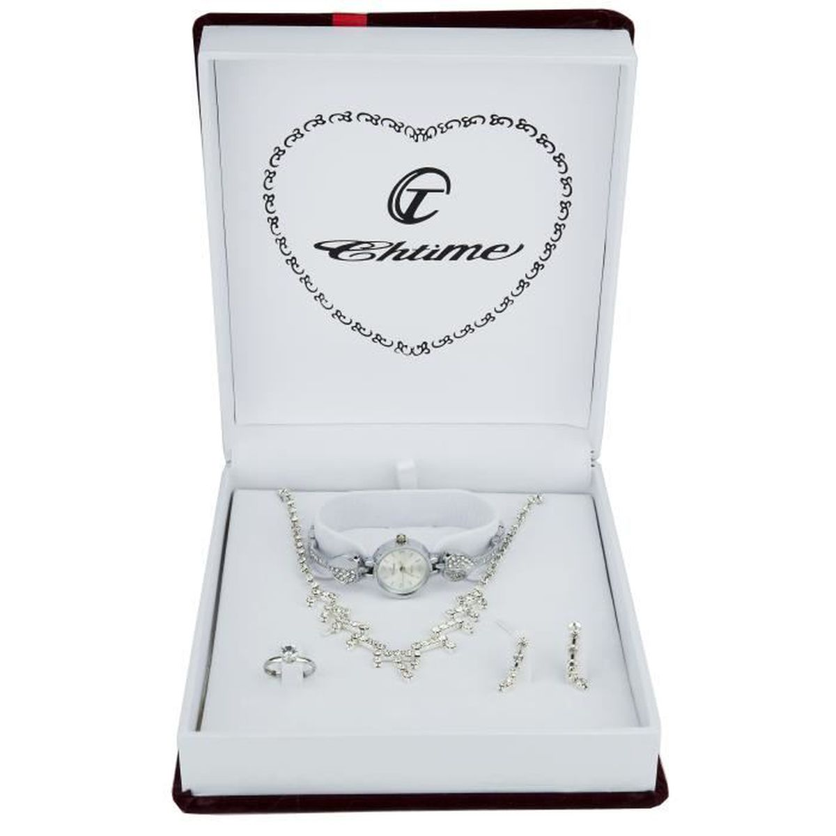coffret cadeau montre femme argent parure de bijoux. Black Bedroom Furniture Sets. Home Design Ideas