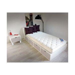 LIT COMBINE  Lit 90x200 Cube blanc Tiroirs couleur