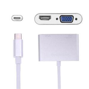 CÂBLE INFORMATIQUE tenoens® USB- C à l'adaptateur HDMI VGA, 2 en 1 US