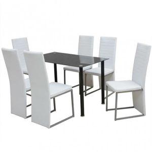 blanc et laque a Table verre manger MVLUjqSGzp