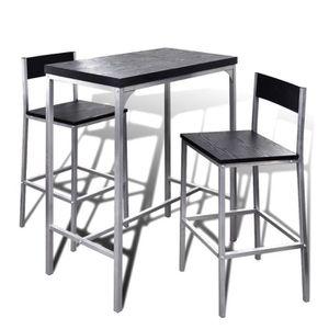 MANGE-DEBOUT Nishore Lot Table de Bar en Bois et Chaise de Repo