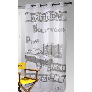 VOILAGE Voilage imprimé Hollywood blanc - noir 140 x 240 c