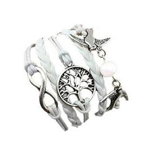BRACELET - GOURMETTE LCC® Bracelet femme/homme Blanc tissé à la main si