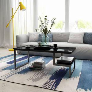 Table Basse Style Contemporain Table De Salon Tres Brillante Noire